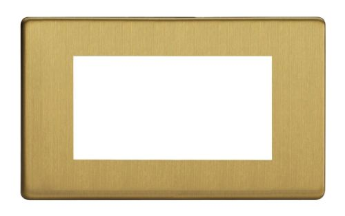 Varilight XDBG4S Screwless Brushed Brass DataGrid Twin Plate (4 DataGrid Spaces)